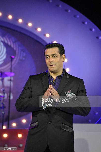 Indian Bollywood actor Sanjay Dutt and Salman Khan perform during the unveiling of a new television reality show in Mumbai on September 29 2011 AFP...