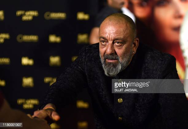 Indian Bollywood actor Sanjay Dutt attend the teaser launch of his upcoming period drama Hindi film Kalank in Mumbai on March 12 2019
