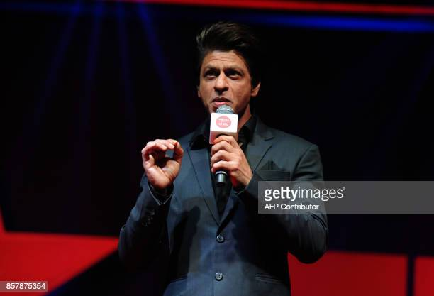 Indian Bollywood actor Shah Rukh khan speaks during the launch of the television show 'TED Talks India Nayi Soch' in Mumbai on October 5 2017 / AFP...
