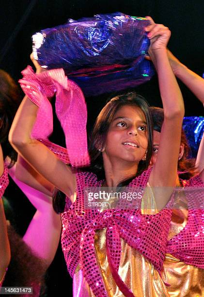 Indian Bollywood actor Shah Rukh Khan's daughter Suhana performs during Shiamak Davar's Summer Funk 2012 dance during the screening of his pop music...