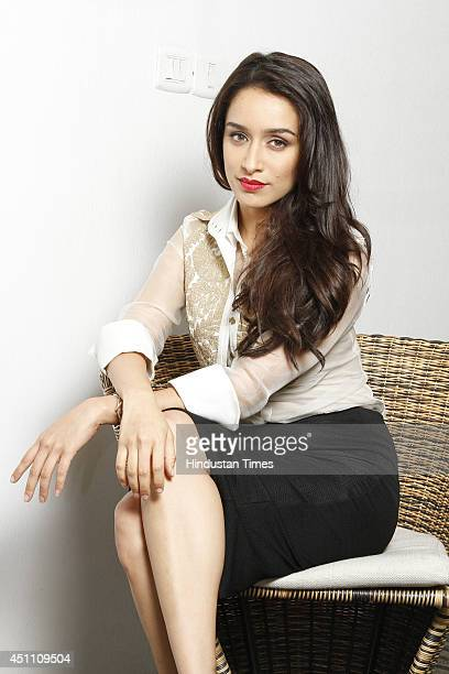 Indian Bollywood actor Shraddha Kapoor poses for a profile shoot during promotion of her upcoming film Ek Villain at HT City on June 19 2014 in New...