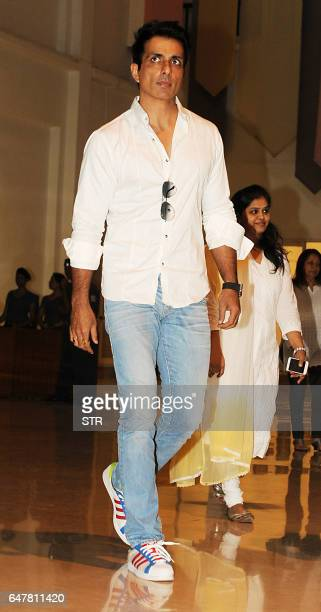 Indian Bollywood actor Sonu Sood attends a prayer meeting for Veerappa Shetty the father of actor Suniel Shetty in Mumbai on March 4 2017 / AFP PHOTO...