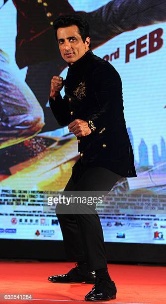 """Indian Bollywood actor Sonu Sood attends a promotional event for the upcoming film """"Kung Fu Yoga"""" in Mumbai on January 23, 2017. / AFP / -"""