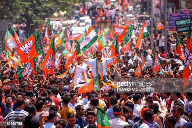 Indian Bollywood actor Sunny Deol joins the roadshow in support of Bharatiya Janata Party candidate for Ajmer parliament seat Bhagirath Choudhary in...