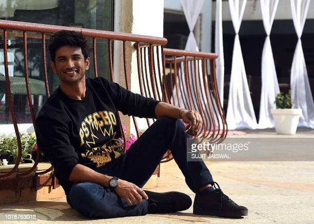 Indian Bollywood actor Sushant Singh Rajput poses for a picture during the promotion of the upcoming Hindi film Sonchiraiya in Mumbai on January 7...