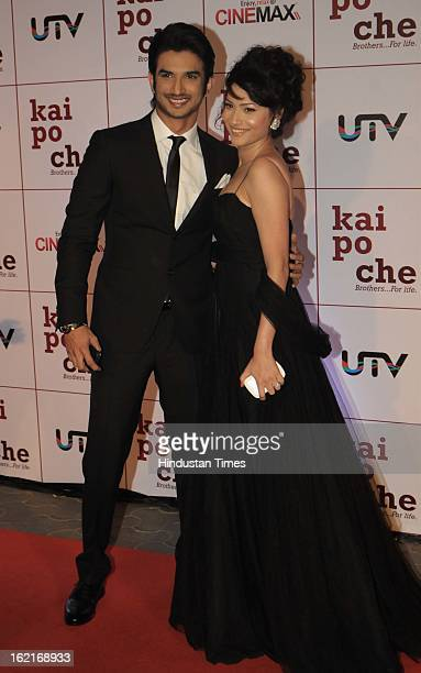 Indian bollywood actor Sushant Singh Rajput with tv actress Ankita Lokhande during the premiere of movie 'Kai Po Che' at Cinemax on February 18 2013...