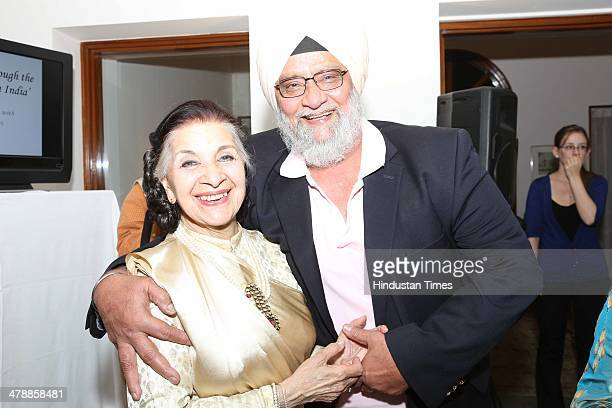 Indian Bollywood actor Sushma Seth and former Indian cricketer Bishan Singh Bedi during the occasion of Commonwealth Day Observance and dinner party...