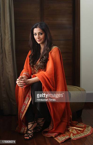 Indian Bollywood actor Tabu poses for the camera during exclusive profile shoot on July 31 2013 in New Delhi India Tabu was in Delhi to walk the ramp...