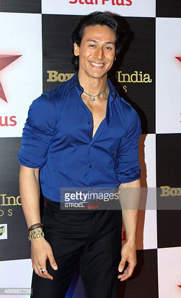 Indian Bollywood actor Tiger Shroff poses during the Star Box Office Awards in Mumbai on October 9 2014 AFP PHOTO/STR