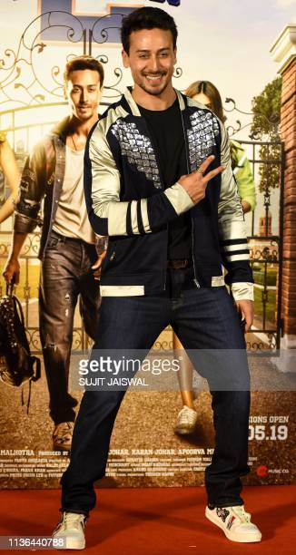 Indian Bollywood actor Tiger Shroff poses for photographs during the trailer launch of his upcoming romantic comedy drama Hindi film 'Student of the...
