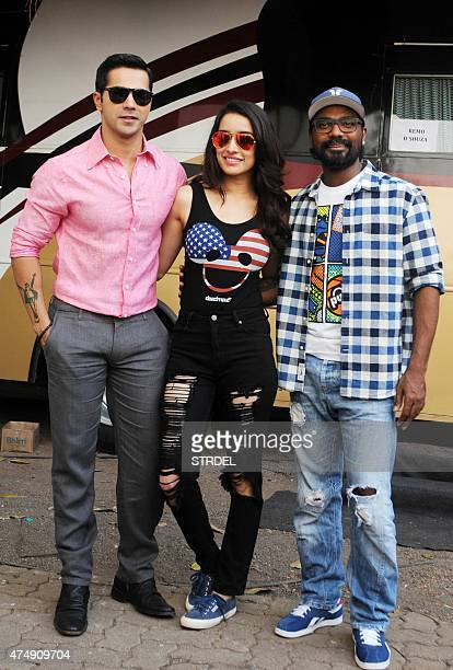 Indian Bollywood actor Varun Dhawan and Shraddha Kapoor pose during a promotional event for the forthcoming Hindi film ABCD 2 directed by Remo DSouza...