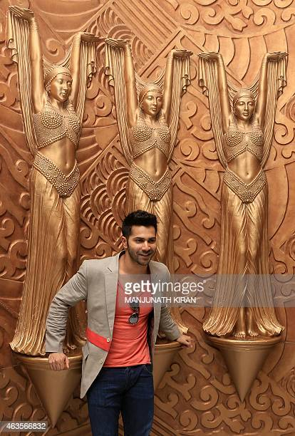 Indian Bollywood actor Varun Dhawan poses during a promotional event for the forthcoming film 'Badalapur' in Bangalore on February 16 2015 AFP...