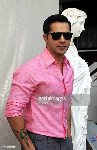 Indian Bollywood actor Varun Dhawan poses during a promotional event for the forthcoming Hindi film ABCD 2 directed by Remo DSouza in Mumbai on May...