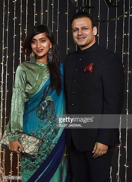Indian Bollywood actor Vivek Oberoi with his wife Priyanka ...