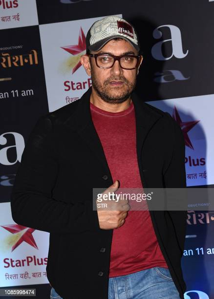 Indian Bollywood actor/producer Aamir Khan attends the screening of his upcoming Star Plus television Hindi Show 'Rubaru Roshni' in Mumbai on January...