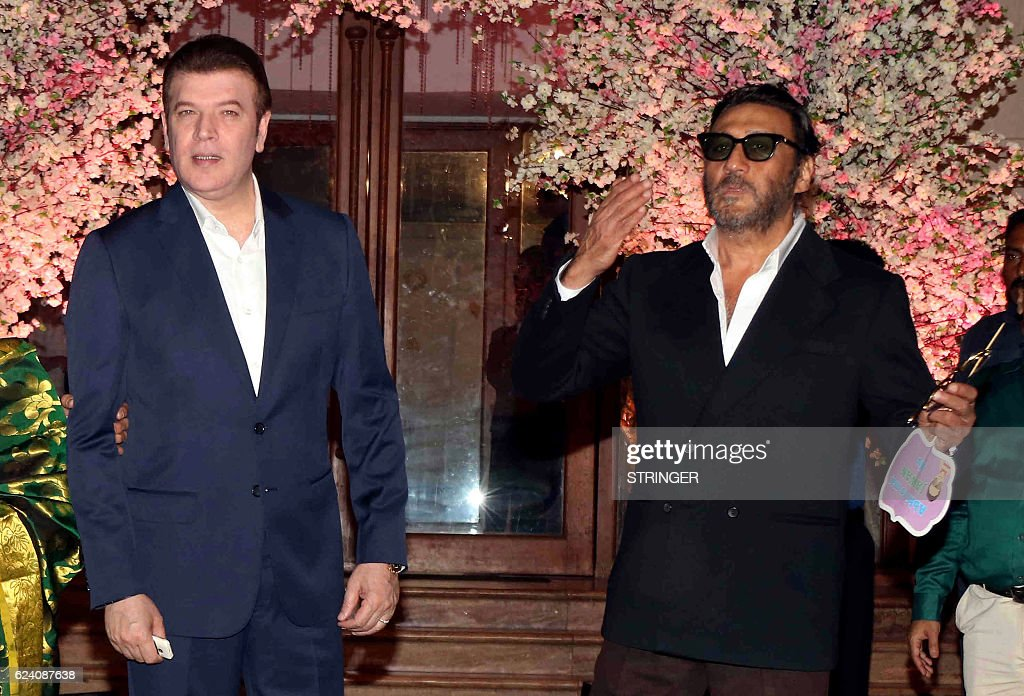 Indian Bollywood Actors Aditya Pancholi L And Jackie Shroff Attend The Wedding Reception Of