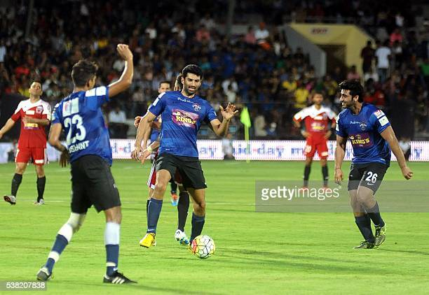 Indian Bollywood actors Aditya Roy Kapur and Arjun Kapoor play in the Celebrity Clasico 2016 charity football match organized by the Virat Kohli...