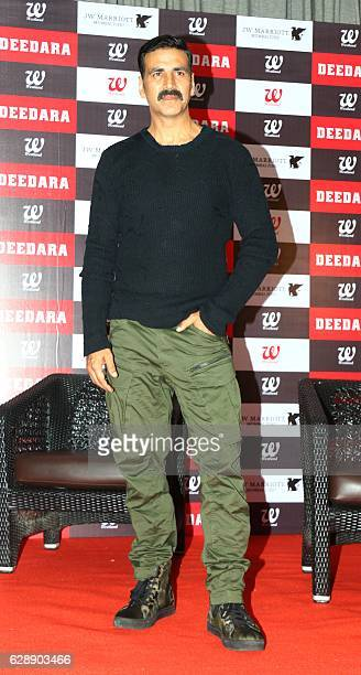 Indian Bollywood actors Akshay Kumar attends the launch of a book about late Indian professional wrestler actor and politician Dara Singh in Mumbai...