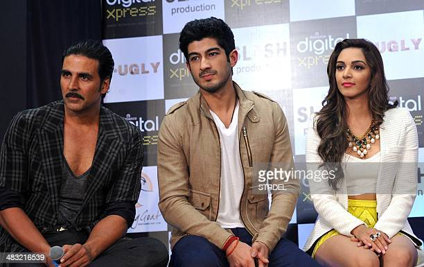 Indian Bollywood actors Akshay Kumar Mohit Marwah and Kiara Advani talk to media during a promotional event for the forthcoming Hindi film F*UGLY...