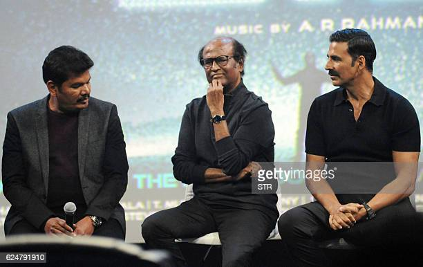 Indian Bollywood actors Akshay Kumar Rajinikanth take part in a promotional event for the forthcoming science fiction Hindi film '2O' written and...