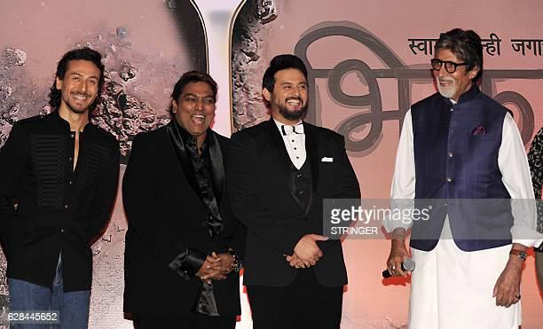 Indian Bollywood actors Amitabh Bachchan Swapnil Joshi and Tiger Shroff attend the mahurat inauguration of the Marathi film 'Bhikari' produced and...