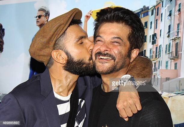 Indian Bollywood actors Anil Kapoor and Ranveer Singh pose during the trailer showing of upcoming Hindi comedydrama film 'Dil Dhadakne Do' directed...