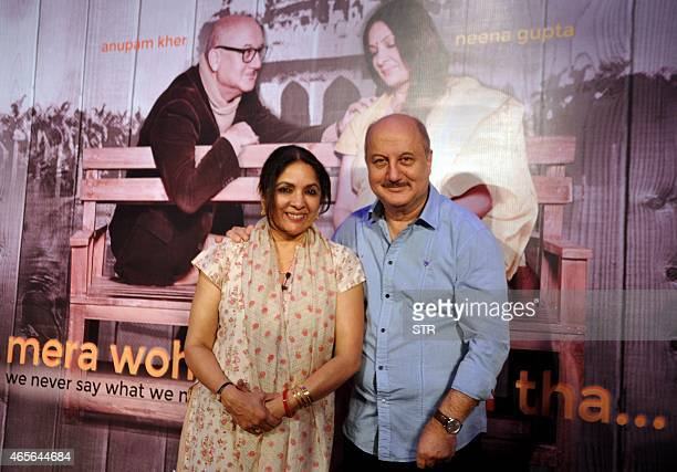 Indian Bollywood actors Anupam Kher and Neena Gupta attend their new Hindi stage play 'Mera Woh Matlab Nahi Tha written and directed by Rakesh Bedi...