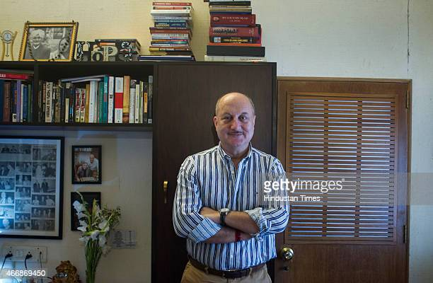 Indian Bollywood actors Anupam Kher poses for the photo shoot at Juhu on March 12 2015 in Mumbai India Senior actor Anupam Kher and Neena Gupta are...