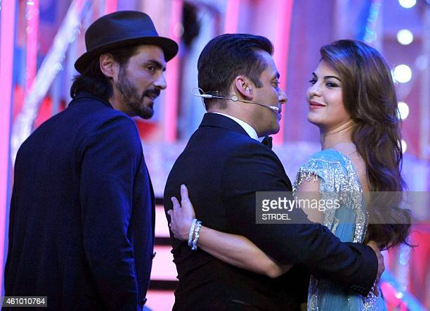 Indian Bollywood actors Arjun Rampal Salman Khan and actress Jacqueline Fernandez on the set of television show Bigg Boss 8 in Lonavala on January 3...