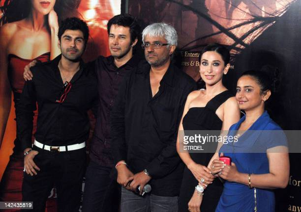 Indian Bollywood actors Arya Babbar Rajneesh Duggal Karishma Kapoor Divya Dutta and film director Vikram Bhatt attend the premier screening of the...