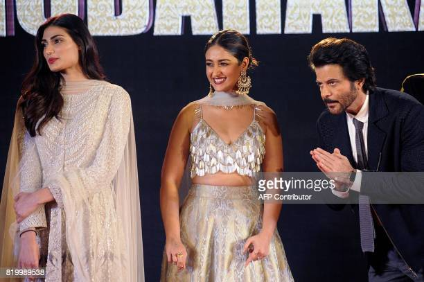 Indian Bollywood actors Athiya Shetty Ileana DCruz and Anil Kapoor attend a promotional event for their upcoming Hindi film Mubarakan in Mumbai on...