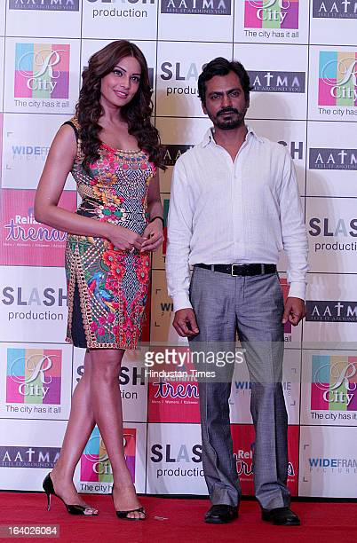 Indian Bollywood actors Bipasha Basu and Nawazuddin Siddiqui during the promotion of their upcoming film Aatma on March 17 2013 in Mumbai India The...