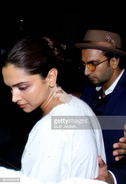 Indian Bollywood actors Deepika Padukone and Ranveer Singh arrive at the home of Anil Kapoor following the death of the actress Sridevi Kapoor in...