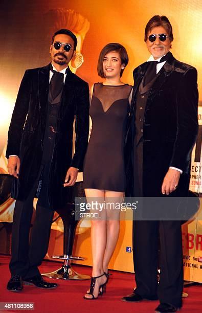 Indian Bollywood actors Dhanush Akshara Haasan and Amitabh Bachchan during the trailer launch for the upcoming Hindi film 'Shamitabh' in Mumbai on...