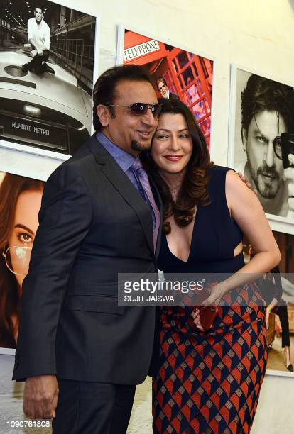 Indian Bollywood actors Gulshan Grover and Aditi Govitrikar pose for a picture during the launch of photographer Dabboo Ratnani's 2019 calendar in...