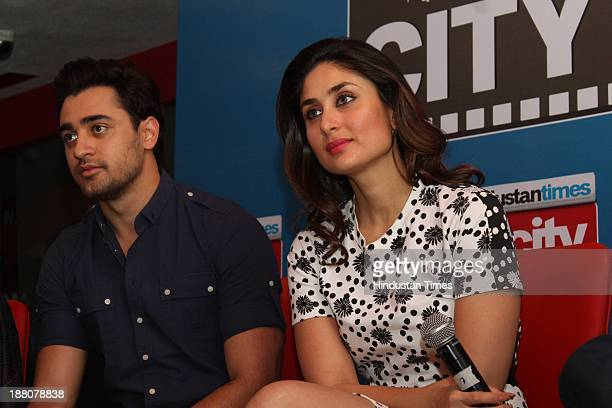 Indian Bollywood actors Imran Khan and Kareena Kapoor Khan during an exclusive interview for the promotion of upcoming movie Gori Tere Pyaar Mein at...
