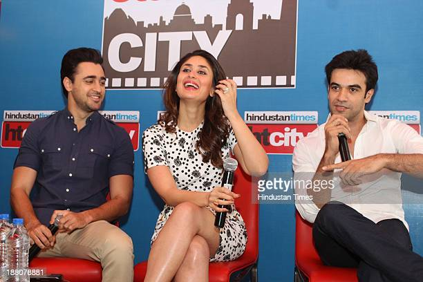 Indian Bollywood actors Imran Khan Kareena Kapoor Khan and film director Punit Malhotra during an exclusive interview for the promotion of upcoming...