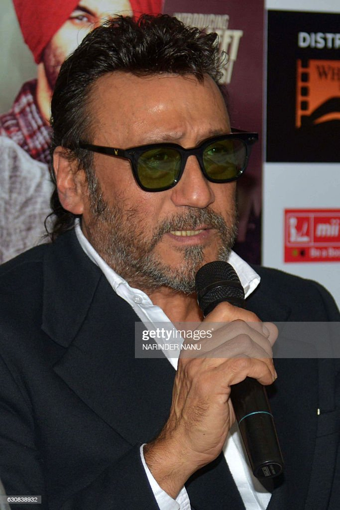 Indian Bollywood actors Jackie Shroff addresses media representatives during a promotional event for the forthcoming Punjabi film ` Sardar Saab ` in..