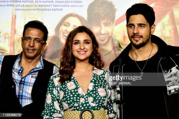 Indian Bollywood actors Javed Jaffrey Parineeti Chopra and Sidharth Malhotra pose for photographs as they attend the trailer launch of the upcoming...