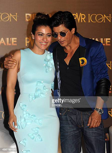 Indian Bollywood actors Kajol Devgn and Shah Rukh Khan take part in a promotional event for the forthcoming Hindi film 'Dilwale' directed by Rohit...