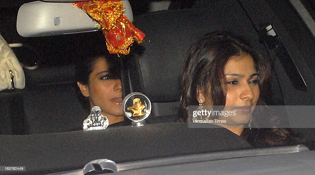 Indian Bollywood actors Kajol Devgn with Tanisha Mukherjee arriving for the Steven Spielberg's party which is organised by Anil Ambani chairman of...