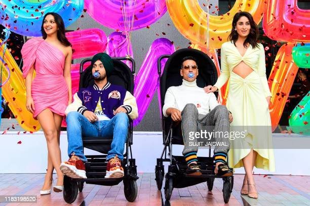 Indian Bollywood actors Kiara Advani Diljit Dosanjh Akshay Kumar and Kareena Kapoor Khan pose for a picture during the trailer launch event of their...