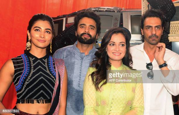 Indian Bollywood actors Pooja Hegde Jackky Bhagnani Dia Mirza and Arjun Rampal pose for a photograph during the launch of Gaj Yatra a campaign to...