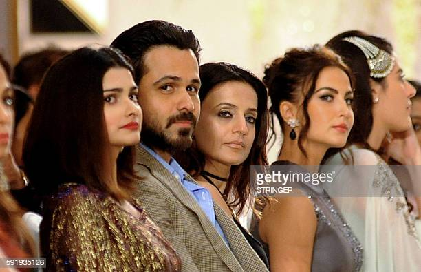 Indian Bollywood actors Prachi Desai Emraan Hashmi Ameesha Patel and Elli Avram attend the launch of Rebecca Deans new designer label in Mumbai on...