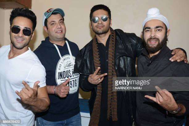 Indian Bollywood actors Pulkit Samrat Varun Sharma Ali Fazal and Manjot Singh pose for a picture during a promotional event for the upcoming...