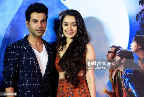 Indian Bollywood actors Rajkummar Rao and Shraddha Kapoor poses for a picture as they attend the trailer launch of their upcoming comedy horror film...