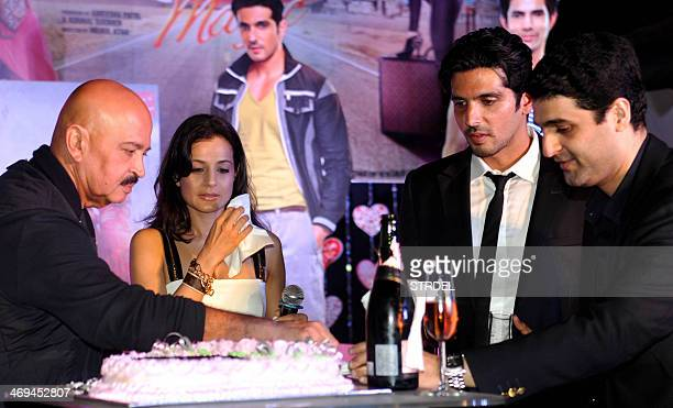 Indian Bollywood actors Rakesh Roshan Ameesha Patel Zayed Khan and actor Mehul Atha attend a promotional event for the upcoming Hindi film Desi Magic...