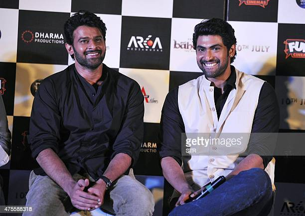 Indian Bollywood actors Rana Daggubati and Prabhas attend the trailer launch of their upcoming film 'Baahubali' in Mumbai late on June 1 2015 AFP...