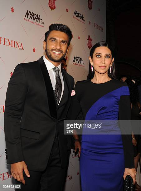 Indian Bollywood actors Ranveer Singh and Karishma Kapoor attend the 'Femina Awards' ceremony in Mumbai on February 5 2016 AFP PHOTO / AFP / STR