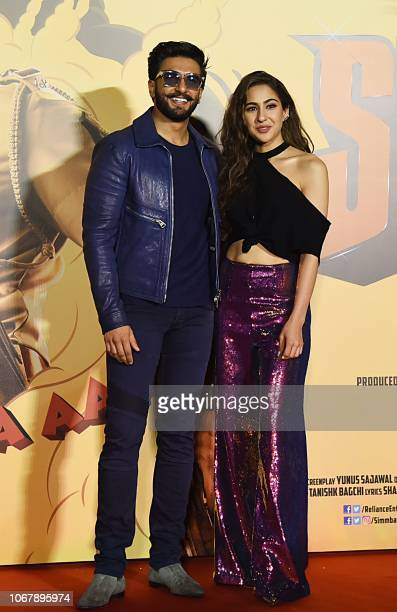 Indian Bollywood actors Ranveer Singh and Sara Ali Khan POSE Zduring the trailer launch of their upcoming Hindi film 'SIMMBA' directed by Rohit...